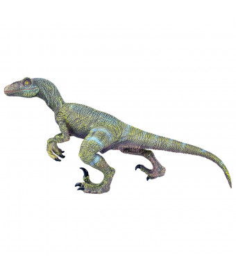 NATIONAL GEOGRAPHIC Wildlife Wow! - Realistic Soft Dinosaur Action Figure (Medium Velociraptor) - STEM Toy with FREE Augmented Reality App
