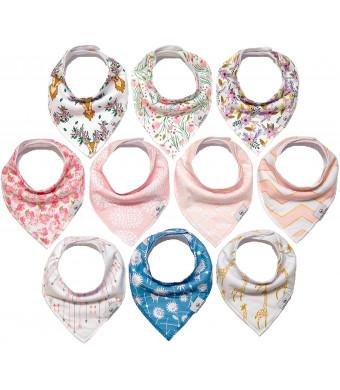 Little Munchkins 10-Pack Girl Organic Cotton - Fleece - Super Absorbent - Bandana Bibs for Girls - Bandana Bibs Girl - Drool Bibs Girl
