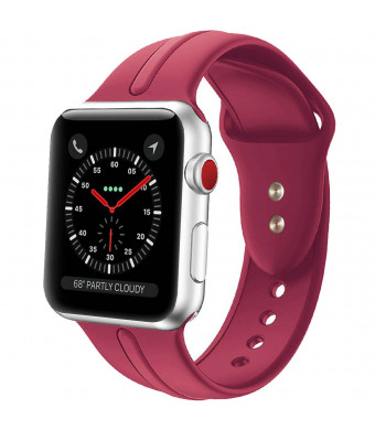 Sundo Apple Watch Band Silicone 38mm 42mm, Iwatch Replacement Wrist Strap Bracelet Band for Apple Watch Nike+ Sport Edition Series 1 Series 2 Series 3 (Rose Red 42 ML)