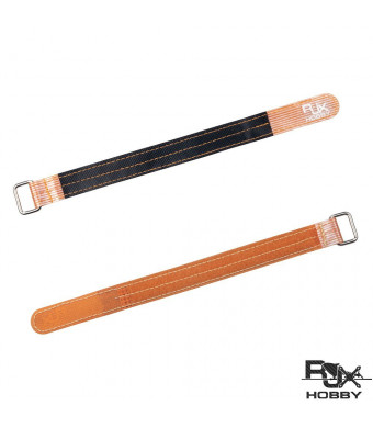 RJX Rubberized 3M Fiber Battery Straps Metal Claps Lipo Straps 20X300mm 2Pcs Orange