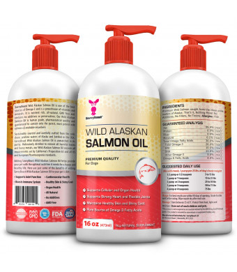 Wild Alaskan Salmon Oil for Dogs, Cats, Ferrets - 16 and 32 oz Pure Unscented Omega 3 Fatty Acid Liquid Fish Oil Supplement Rich in EPA + DHA for Pets - Helps Joints, Dry Skin, Coat - Just Pump on Food