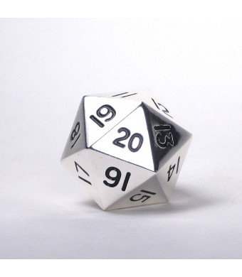 Massive! Solid Metal Jumbo 35mm d20 Spin Down Life Counter Dice Die Chrome Silver MTG
