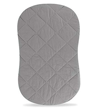 Jersey Cotton Quilted Waterproof Hourglass/Oval Bassinet Sheet All in one Bassinet Sheet and Bassinet Mattress Pad Cover with Heat Protection by Ely's and Co. (Grey)