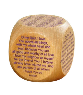 Prayer Cubes Wooden with Reconciliation Prayers, 1 5/8 inch
