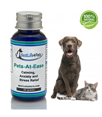 Natural Calming Supplement for Dogs and Cats; Pets-At-Ease Provides Effective Anxiety and Stress Relief with No Side-effects. Helps cope with Fear, Vet Visits, Thunder and Separation Anxiety
