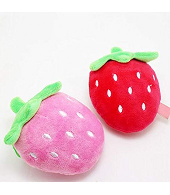 Stock Show 2Pcs Dog Squeak Toys Pet Plush Strawberry Shape Chewing Biting Teeth Massager Playtoys for Small Medium Dog Cat, Pink + Red
