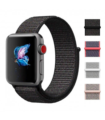 CHEEDAY Soft Nylon Sport Loop Hook Loop Fastener iWatch Band Adjustable Closure Replacment Strap Compatible Apple Watch 38mm 40mm Series 4/3/2/1 Sport, Edition - Black