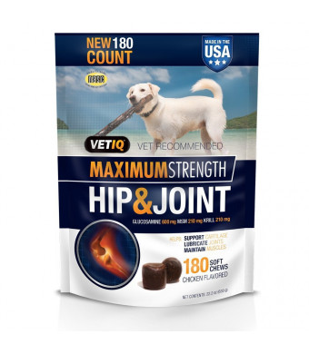 VetIQ Maximum Strength Hip and Joint, 180 Chicken Flavored Soft Chews for Dogs, Value Size ONE Pack ( 22.2 oz )