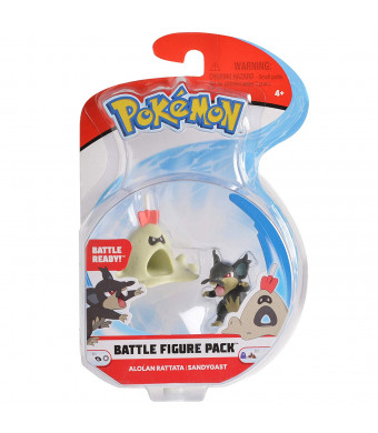 """Pokemon 2 Inch Battle Action Figure 2-Pack, includes 2"""" Alolan Rattata and 2"""" Sandygast"""