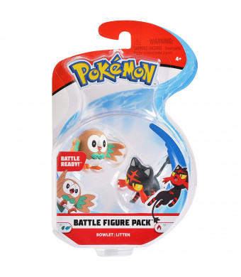 "Pokemon 2 Inch Battle Action Figure 2-Pack, includes 2"" Rowlet and 2"" Litten"