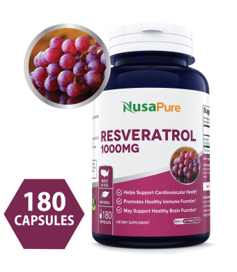 Best Resveratrol 1000mg 180caps (Non-GMO and Gluten Free) Promotes Heart Health and Balances Blood Pressure, Helps Balance Hormones - Proudly Made in USA - 100% Money Back Guarantee!