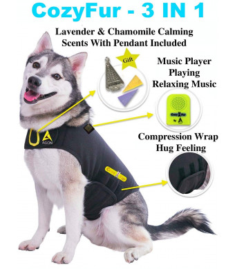 Agon CozyFur Patented Dog Anxiety Vest Calming Music Speaker and Lavender Essential Oil Scent Thunderstorm Treats Canine Stress Relief Fireworks Thunder Separation Shirt Jacket Coat