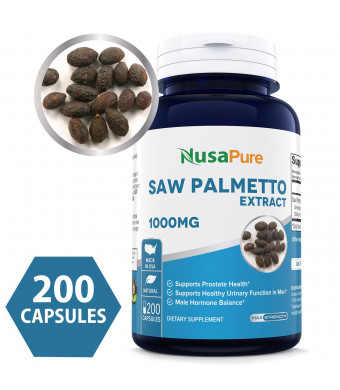 Best Saw Palmetto Extract 1000mg per Caps 200 Capsules (NON-GMO and Gluten Free) - Healthy Urination Frequency and Flow Formula - May Help Block DHT - Made in USA - 100% MONEY BACK GUARANTEE!