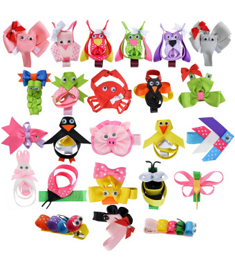 Girls Hair Bow with Ribbon Covered Clip Barrette Assorted Animal Shaped Bows for Baby Toddlers Girl