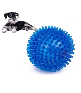 Dog Toys Chewing Ball, TPR Bouncy Floating Teeth Cleaning Spiky Ball Dog Squeaky Toy for Small Medium Aggressive Chewers Training Playing Chewing by HongYH