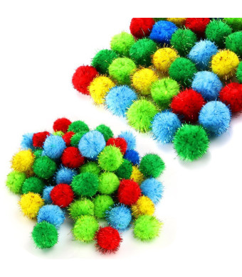 TKOnline 100 Piece Assorted Color Sparkle Balls Glitter Tinsel Balls My Cat's All Time Favorite Toy Pom Ball For Cat Toys