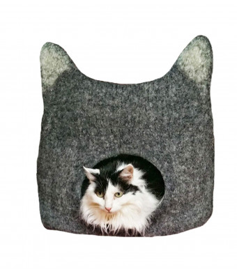 SleekTiger Cat Cave Bed, Cat-Shaped. Handmade, 100% Merino Wool Felt. for Outdoor Cats Indoor Cats and Kittens. Natural, Chemical-Free, Synthetic-Free. Grey with White Ears. One-Size