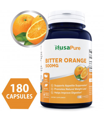 Bitter Orange 500mg 180caps (Non-GMO and Gluten Free) - Best Weight Loss Supplement - Natural Appetite Suppressant - 100% Money Back Guarantee - Order Risk Free!