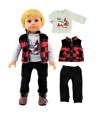"Outdoorsy Boy Outfit 3pc. Fits 18"" American Girl Dolls, Madame Alexander, Our Generation, etc. 