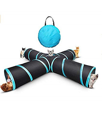 Pet Cat Tunnel, Cat Toys,Portable Tubes Collapsible, 4 Way Crinkle Cat Toy CubeandStorage Bag Catnip a Bell Toy for Large Cats Dogs Rabbits Indoor Outdoor Use