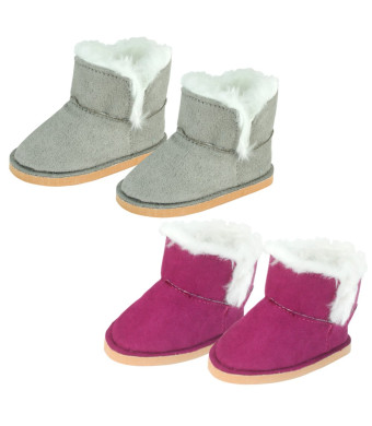 Sophia's Set of 2 Mini Ewe Booties for Dolls 1 Pair in Raspberry, 1 Pair in Gray | 18 Inch Doll Boots