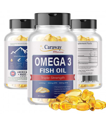 Omega 3 Fish Oil Pills - Pharmaceutical Grade  2000 mg, 900 mg EPA 600 mg DHA 180 Softgel Count. Burpless Capsules with No Fishy Aftertaste. All Natural, Organic, Non GMO, Gluten Free for Men and Women
