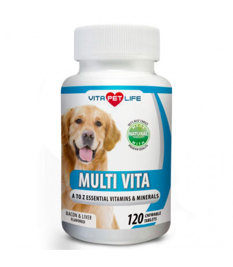 Vitamin Dogs, Essential Multivitamin Minerals Dogs, Immune System Booster, Vitamin B, Calcium, Supports Heart, Bones, Teeth, Skin Coat, 120 Natural Chew-able Tablets.