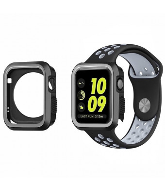 Apple Watch Case 42mm - KONKY Universal Soft Silicone Shock Absorption Scratch Resistant iWatch Bumper Cover Protector for Apple Watch Series 3, Series 2, Series 1 (Black and Gray)