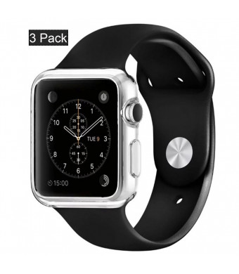 [3pack]Crystal clear iWatch 38mm Case , CaseHQ Ultra Slim 0.3MM Lightweight Polycarbonate Hard Protective Bumper Cover for All Versions 38mm Apple Watch Series 1/ Original (2015)Sport and Edition-Clear