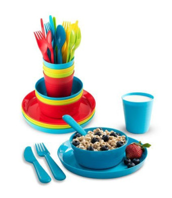 Plastic Dinnerware Set of 4 By Plaskidy - 24 piece Kids dishes Set Includes, Kids Cups, Kids Plates, Kids Bowls, Flatware Set, Kids dinnerware set is Reusable, Microwave - Dishwasher Safe, BPA Free.