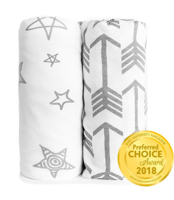 Fitted Crib Sheet Set | Arrows and Stars | 100% Premium Jersey Knit Cotton | Super Soft and Safe for Babies | Crib Sheets for a Standard Baby or Toddler Mattress | 2 Pack | White Sheets | Grey Patterns