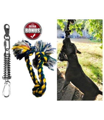 SoCal Bully Spring Pole - (1) Dog Conditioner - Muscle Builder - (1) $15 Value Heavy Duty 3 Knott Tug Rope Toy Included! - Healthy Teeth Flosser-Fun for Pitbull and All Breeds! - Free Prime Shipping!