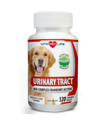 Vita Pet Life Cranberry for Dogs, Urinary Tract Support, Pet Antioxidants with Apple Cider Vinegar, Prevents UTI, Bladder Infections, Bladder Stones and Dog Incontinence. Antibacterial, 100% Natural