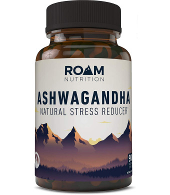 Indian Ashwagandha Capsules 1100mg | All Natural Stress and Anxiety Relief. Thyroid Support and Mood Enhancer | with Lavender for Enhanced Benefits | Anti Anxiety Supplement (90) Roam Nutrition