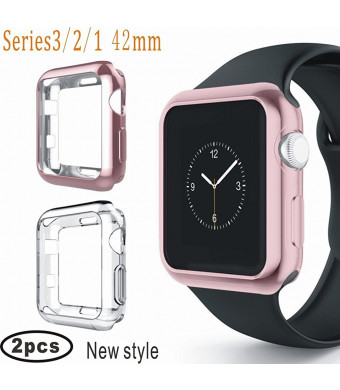 Apple Watch 38mm Bumper, Plated Soft Screen Protective Cover Shock Absorption fit iwatch Series 3,Series 2, Series 1, Nike+, Sport, Edition (Rose Gold+Clear)