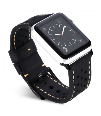 for 38mm Apple Watch Band, AiiKo Genuine Leather Hollow Design iWatch Strap Replacement Band for Apple Watch Series 3 Series 2 Series 1 Sport and Edition, Black
