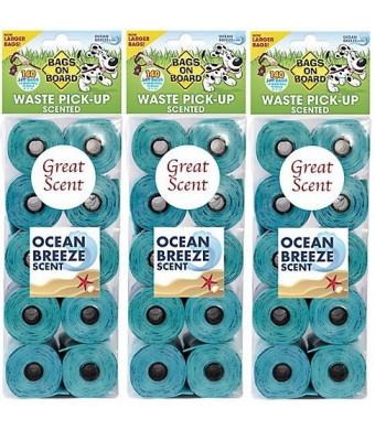 (3 Pack) Bags on Board Ocean Breeze Scented Dog Poop Refill Bags, 140 Ct. Per Pack