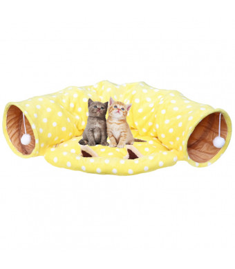 Towerin Cat Tunnel Toy and Bed with Scratching Ball Collapsible Cat Mate Easy to Clean Soft Removable Shack House Suitable for PuppyandKitty