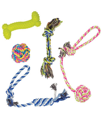 Pilsley Puppy Dog Pet Rope Toys For Small to Medium Dogs (Set of 5)