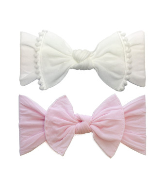 Baby Bling Bow 2 Pack: Trimmed and Classic Knot Girls Baby Headbands - MADE IN USA