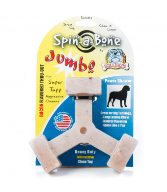 Bullibone Jumbo Spin-a-Bone- Bacon Flavor Long Lasting Nylon Dog Chew Toy for Aggressive Chewers | Power Chewer Dog Toys for Large Dogs