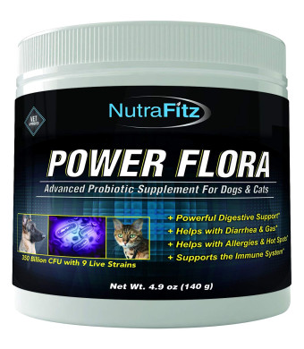 POWER FLORA - Probiotics for Dogs and Cats with 9 Live Strains  Dog Probiotics Improves Dog Breath, UTI, Diarrhea, Constipation, Skin Allergy, Hot Spots - Odorless Powder - 350 Billion CFU/jar