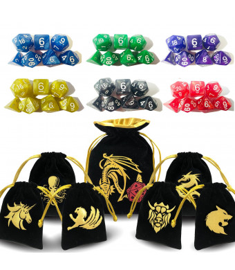 ENTOY DND Dice Set Dungeons and Dragons Dice Set for DandD Dice Games RPG MTG Table Games with Drawstring Bag (6)