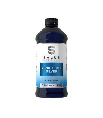 Salus Defense Structured Silver Liquid  Alkaline Water With 15ppm Structured Silver To Quickly Kill Pathogens, Viruses, Yeast and Bacteria  All Natural and Safe With No Additives  16 Ounces