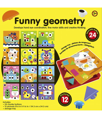 Button Art, 2018 Newest Color Matching Mosaic Pegboard Puzzle Games with 12 Templates Geometry Set, Preschool Early Educational Learning Toys Fine Motor Creative Toys for Boys and Girls 2 Year Old Up