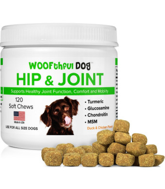Glucosamine Chondroitin for Dogs with Organic Turmeric and MSM - Hip and Joint Supplement for Dogs - Supports Healthy Joint Function, Comfort, Mobility and Pain Relief | 120 Soft Chews | Made in USA