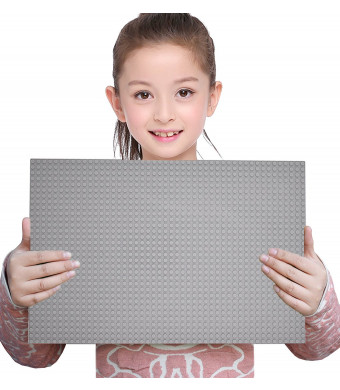 """Sawaruita Classic Gray Baseplate Supplement 10"""" x 15"""" Building Bricks Sets Compatible with All Major Brands Kids Games"""