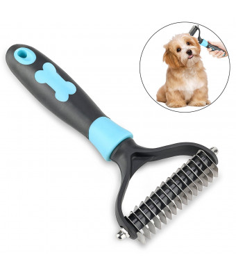 YESSBON Dogs and Cats Dematting Rake Comb Rabbits Slicker Grooming Brush Pet Shedding Tool Safe for Medium and Longhaird Pets Gently Removes Undercoat Mats and Tangles