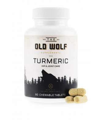 Turmeric Curcumin Joint Supplement for Dogs: Pain Relief and Anti Inflammatory Support with Glucosamine, Chondroitin Porcine, MSM, Hyaluronic Acid, Piperine and Turmeric Root Blend - 90 Chewable Tablets