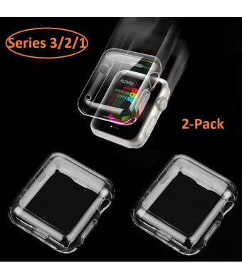Wolait Apple Watch 3 Screen Protector Case 38mm, Clear Soft TPU Case with Built-in Screen Protector for iWatch 38mm Series 3 Series 2 Series 1[2pack]